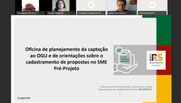 Oficina de planejamento para captação ao OGU e orientações sobre o cadastramento de propostas no SME